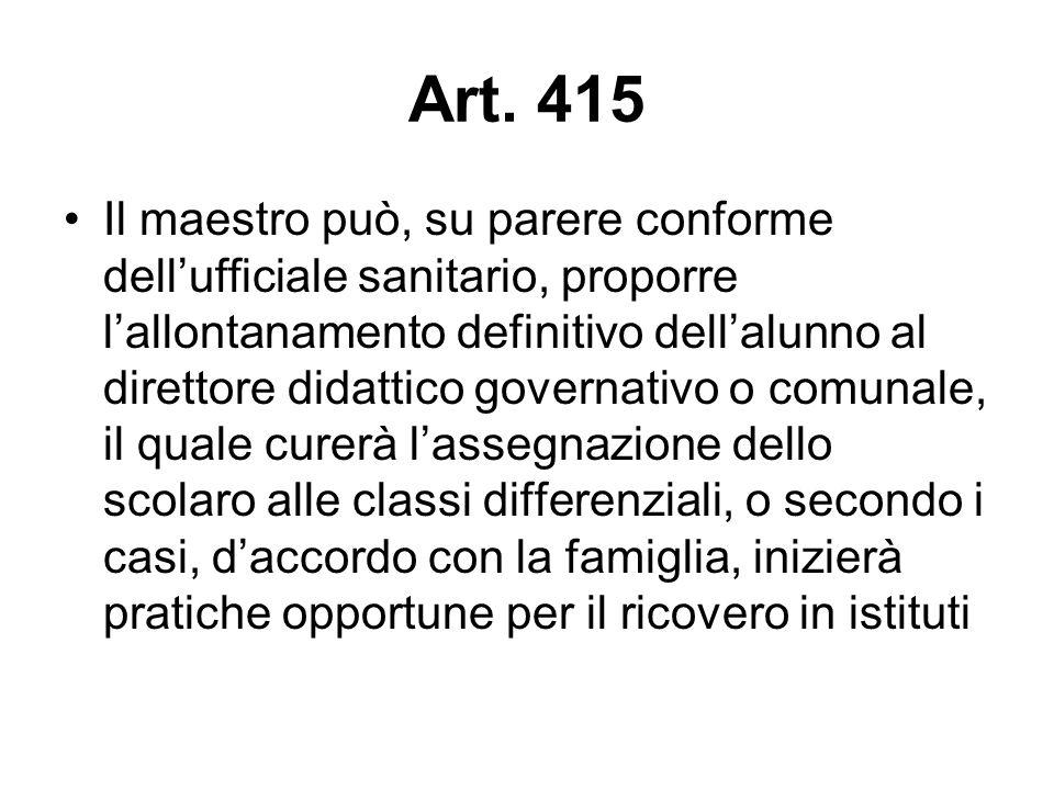 Art. 415 Il maestro può, su parere conforme dell'ufficiale sanitario, proporre l'allontanamento definitivo dell'alunno al direttore didattico governat