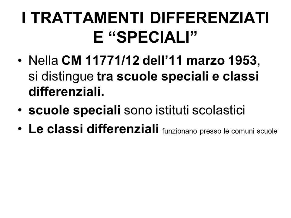 """I TRATTAMENTI DIFFERENZIATI E """"SPECIALI"""" Nella CM 11771/12 dell'11 marzo 1953, si distingue tra scuole speciali e classi differenziali. scuole special"""