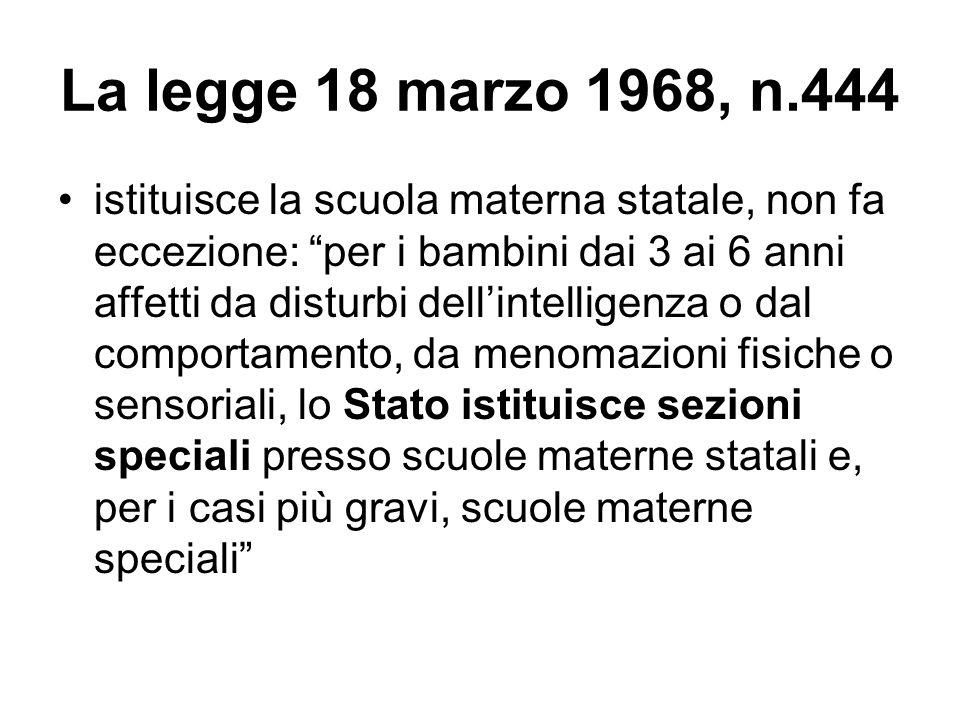 """La legge 18 marzo 1968, n.444 istituisce la scuola materna statale, non fa eccezione: """"per i bambini dai 3 ai 6 anni affetti da disturbi dell'intellig"""