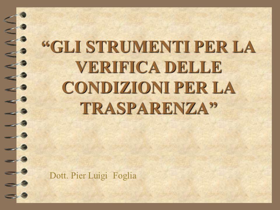GLI STRUMENTI PER LA VERIFICA DELLE CONDIZIONI PER LA TRASPARENZA Dott. Pier Luigi Foglia