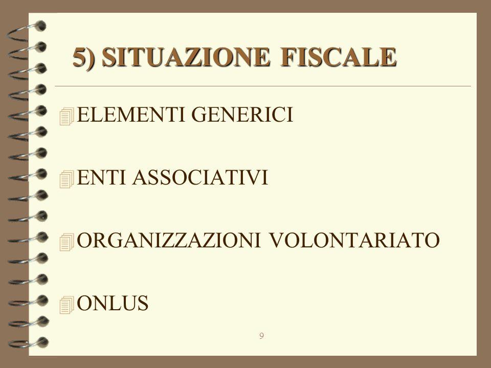 9 5) SITUAZIONE FISCALE 5) SITUAZIONE FISCALE 4 ELEMENTI GENERICI 4 ENTI ASSOCIATIVI 4 ORGANIZZAZIONI VOLONTARIATO 4 ONLUS
