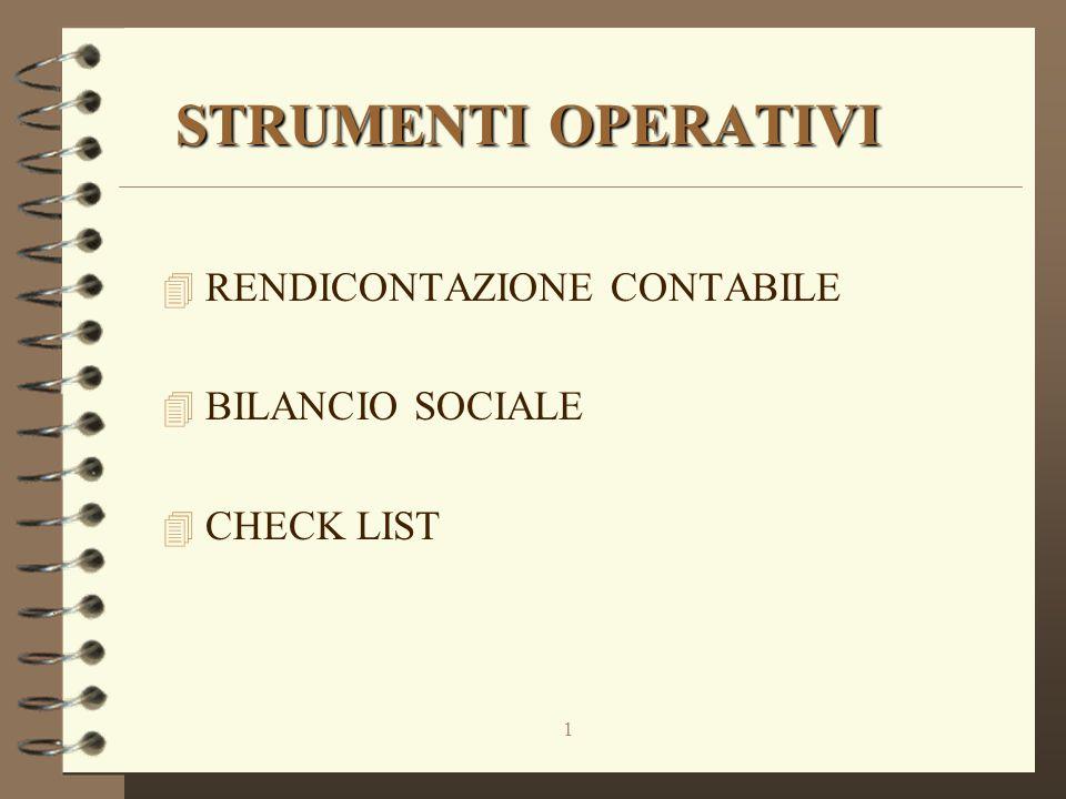 1 STRUMENTI OPERATIVI 4 RENDICONTAZIONE CONTABILE 4 BILANCIO SOCIALE 4 CHECK LIST