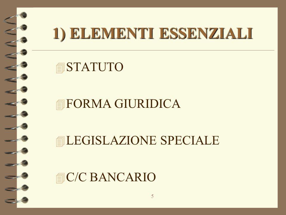 5 1) ELEMENTI ESSENZIALI 4 STATUTO 4 FORMA GIURIDICA 4 LEGISLAZIONE SPECIALE 4 C/C BANCARIO