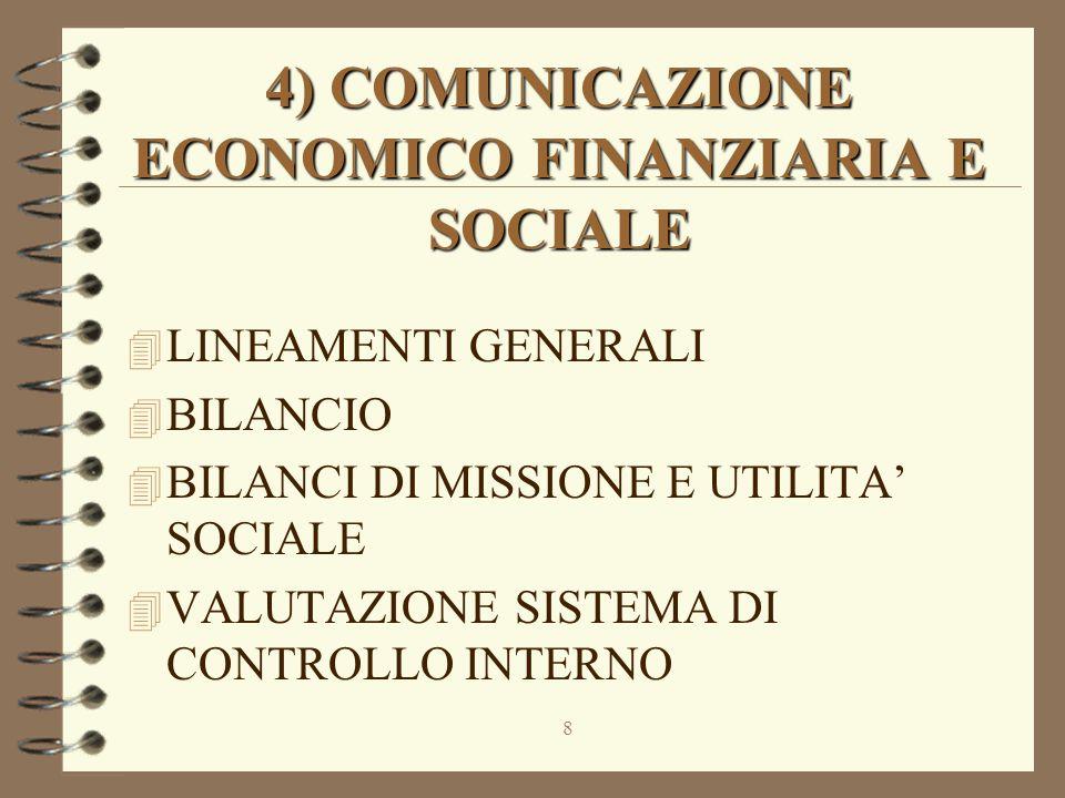 8 4) COMUNICAZIONE ECONOMICO FINANZIARIA E SOCIALE 4 LINEAMENTI GENERALI 4 BILANCIO 4 BILANCI DI MISSIONE E UTILITA' SOCIALE 4 VALUTAZIONE SISTEMA DI CONTROLLO INTERNO