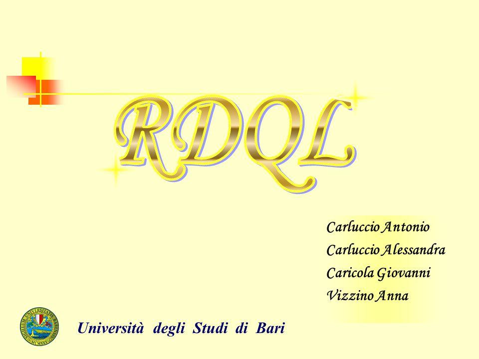 COS'E' RDQL… Il linguaggio RDQL è un linguaggio d'interrogazione per i modelli RDF sviluppato inizialmente dai laboratori Hewlett-Packard nell'ambito del progetto Jena.