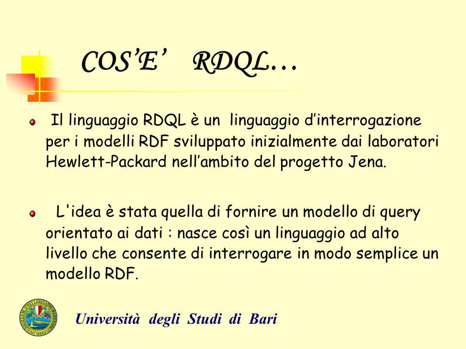 COS'E' RDQL… Il linguaggio RDQL è un linguaggio d'interrogazione per i modelli RDF sviluppato inizialmente dai laboratori Hewlett-Packard nell'ambito