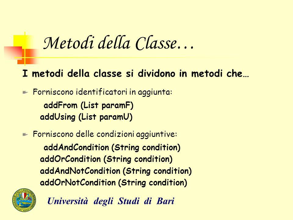 Metodi della Classe… I metodi della classe si dividono in metodi che… Forniscono identificatori in aggiunta: addFrom (List paramF) addUsing (List para