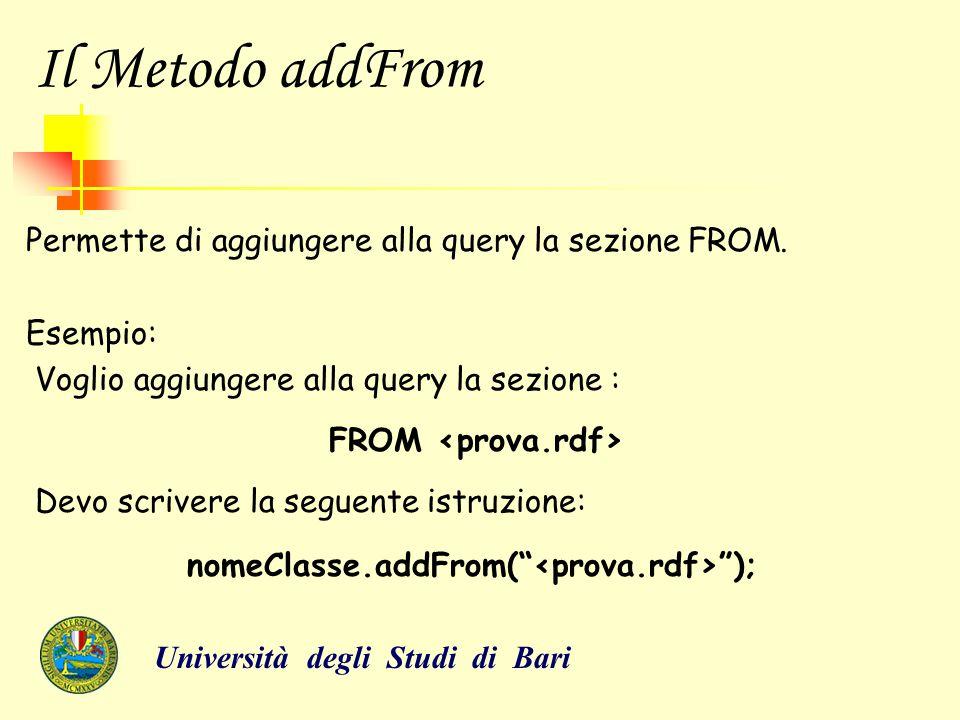 Il Metodo addFrom Permette di aggiungere alla query la sezione FROM. Esempio: Voglio aggiungere alla query la sezione : FROM Devo scrivere la seguente