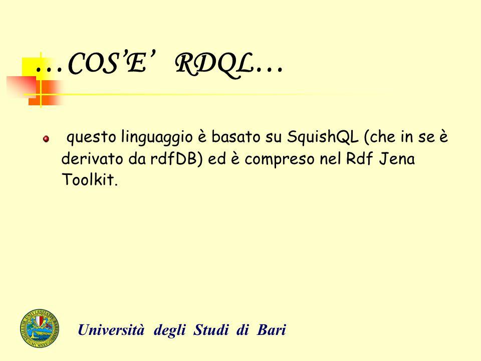 SINTASSI RDQL… RDQL interroga i documenti di RDF che indicano il loro URL (HTTP://) o i loro percorsi (se sono in locale), usando una sintassi simile a SQL.