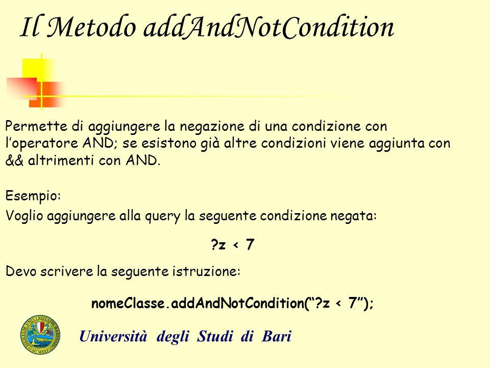Il Metodo addAndNotCondition Permette di aggiungere la negazione di una condizione con l'operatore AND; se esistono già altre condizioni viene aggiunt