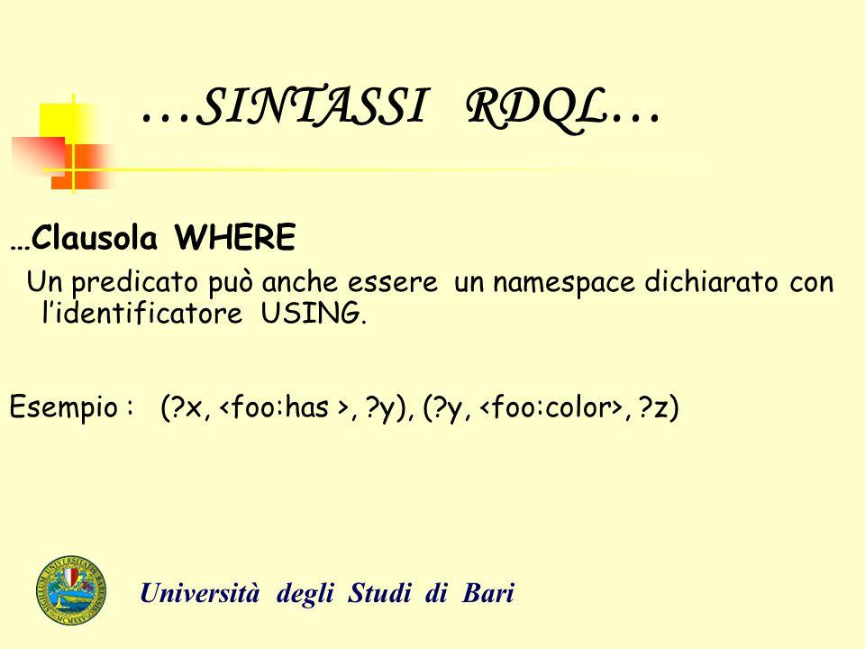 …SINTASSI RDQL… …Clausola WHERE Un predicato può anche essere un namespace dichiarato con l'identificatore USING. Esempio : (?x,, ?y), (?y,, ?z) Unive