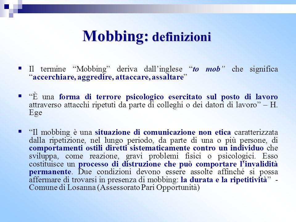 """Mobbing: definizioni  Il termine """"Mobbing"""" deriva dall'inglese """"to mob"""" che significa """"accerchiare, aggredire, attaccare, assaltare""""  """"È una forma d"""