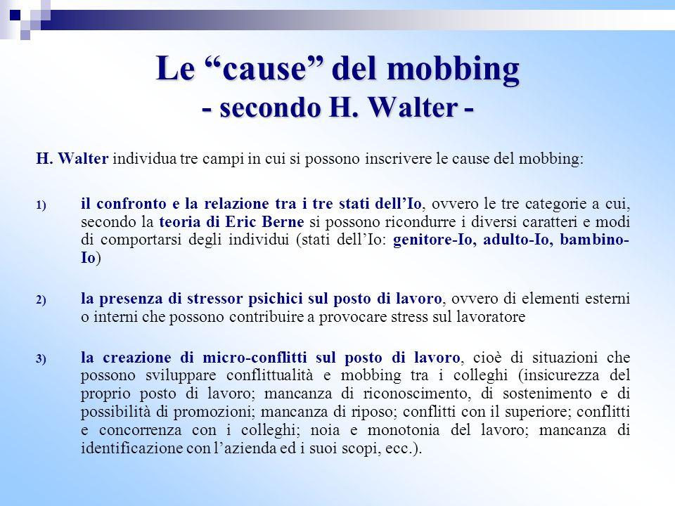 """Le """"cause"""" del mobbing - secondo H. Walter - H. Walter individua tre campi in cui si possono inscrivere le cause del mobbing: 1) il confronto e la rel"""