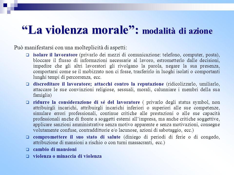 """""""La violenza morale"""": modalità di azione Può manifestarsi con una molteplicità di aspetti:  isolare il lavoratore (privarlo dei mezzi di comunicazion"""