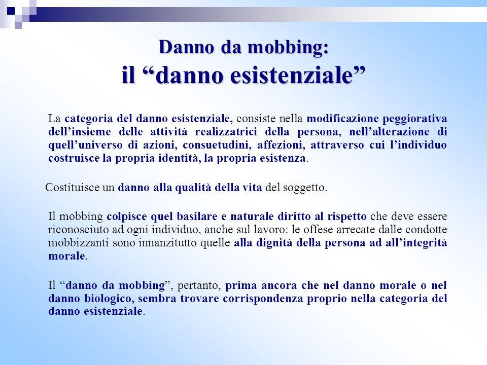 """Danno da mobbing: il """"danno esistenziale"""" La categoria del danno esistenziale, consiste nella modificazione peggiorativa dell'insieme delle attività r"""