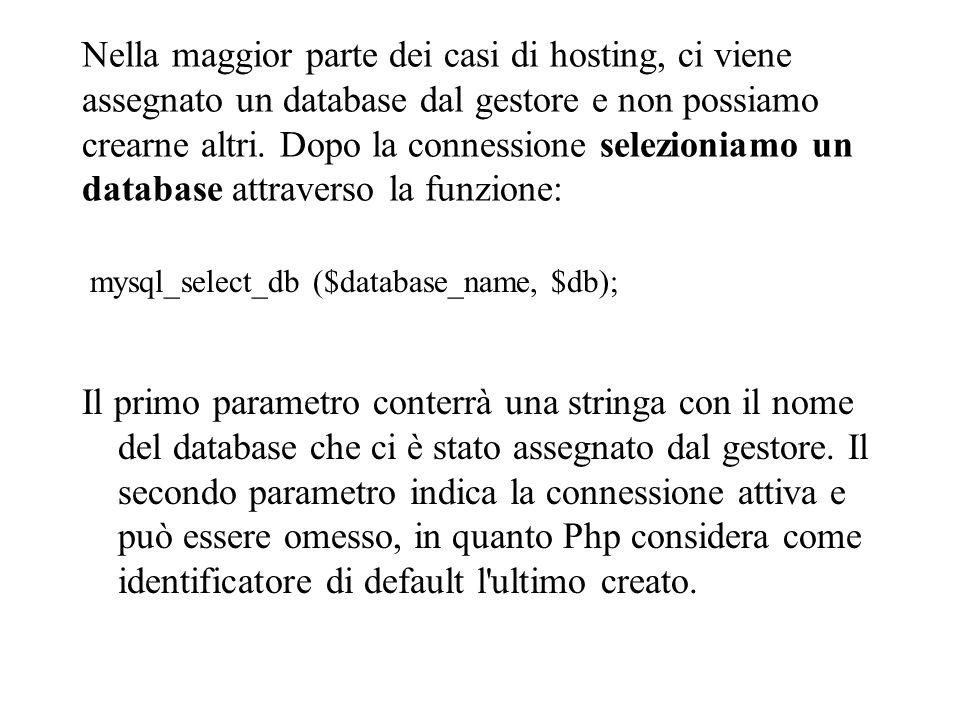 Nella maggior parte dei casi di hosting, ci viene assegnato un database dal gestore e non possiamo crearne altri.