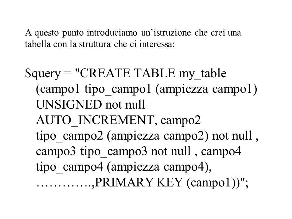 A questo punto introduciamo un'istruzione che crei una tabella con la struttura che ci interessa: $query = CREATE TABLE my_table (campo1 tipo_campo1 (ampiezza campo1) UNSIGNED not null AUTO_INCREMENT, campo2 tipo_campo2 (ampiezza campo2) not null, campo3 tipo_campo3 not null, campo4 tipo_campo4 (ampiezza campo4), ………….,PRIMARY KEY (campo1)) ;