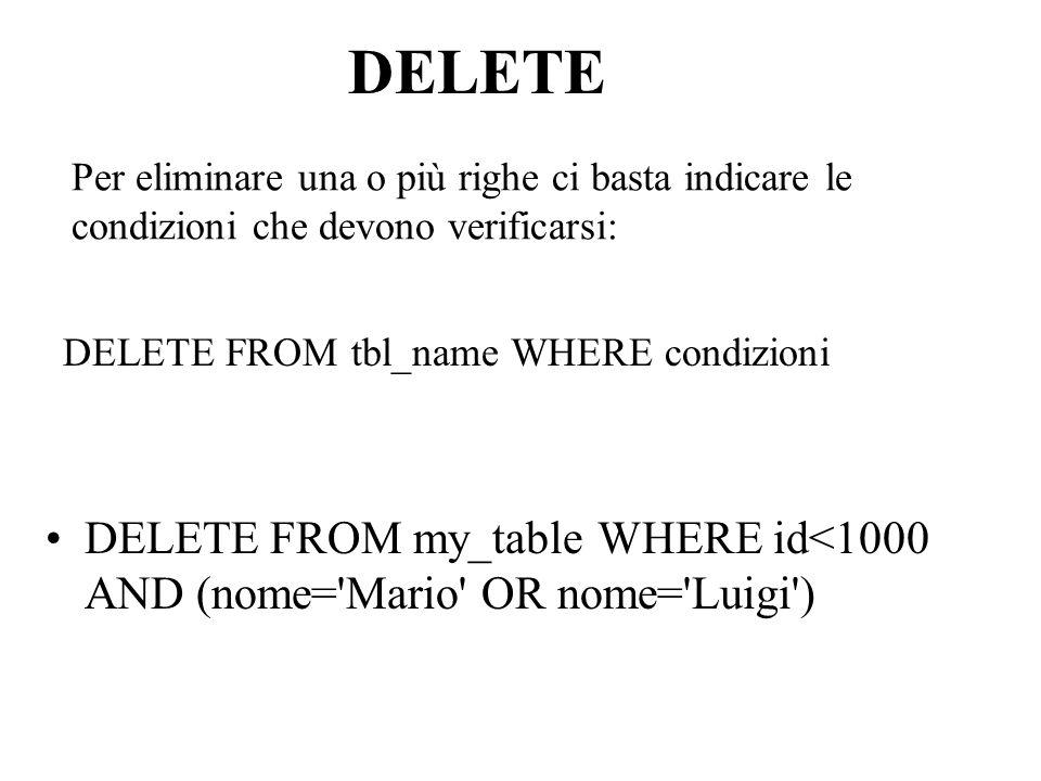 Per eliminare una o più righe ci basta indicare le condizioni che devono verificarsi: DELETE FROM my_table WHERE id<1000 AND (nome= Mario OR nome= Luigi ) DELETE FROM tbl_name WHERE condizioni DELETE