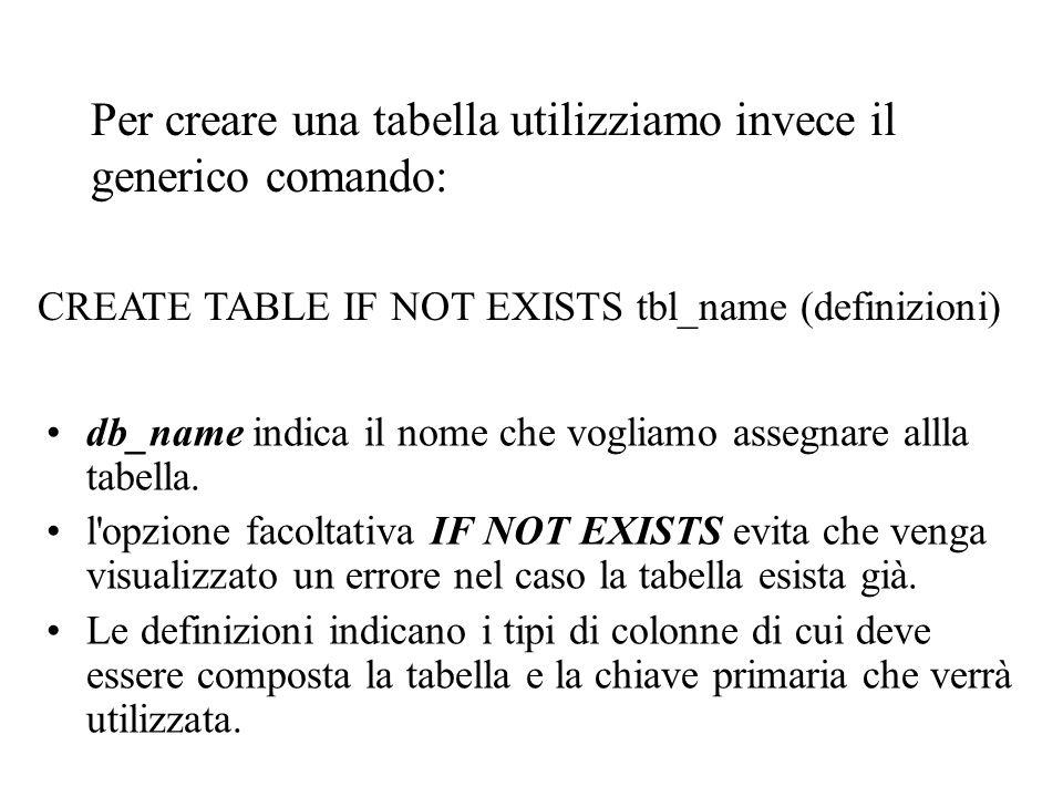 Per creare una tabella utilizziamo invece il generico comando: db_name indica il nome che vogliamo assegnare allla tabella.
