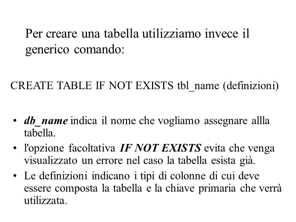 include( config.inc.php ); $db = mysql_connect($db_host, $db_user, $db_password); if ($db == FALSE) die ( Errore ……. ); mysql_select_db($db_name, $db) or die ( Errore …… ); $query = CREATE TABLE news (………….) ; if (mysql_query($query, $db)) echo Tabella creata… ; else echo Errore…. ; mysql_close($db); ?>