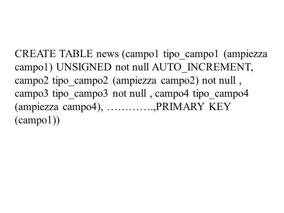 CREATE TABLE news (campo1 tipo_campo1 (ampiezza campo1) UNSIGNED not null AUTO_INCREMENT, campo2 tipo_campo2 (ampiezza campo2) not null, campo3 tipo_campo3 not null, campo4 tipo_campo4 (ampiezza campo4), ………….,PRIMARY KEY (campo1))