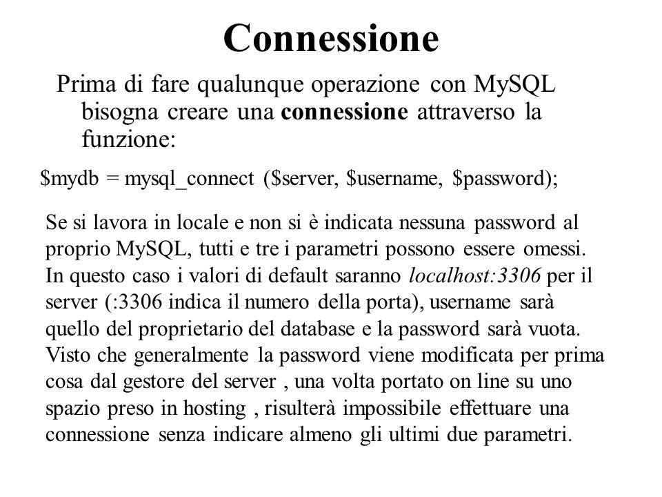 Per questo motivo creiamo una pagina che chiameremo config.inc.php che contenga: // parametri della connessione al database $db_host = 127.0.0.1 ; $db_user = Anonymous ; $db_password = ; $db_name = ;