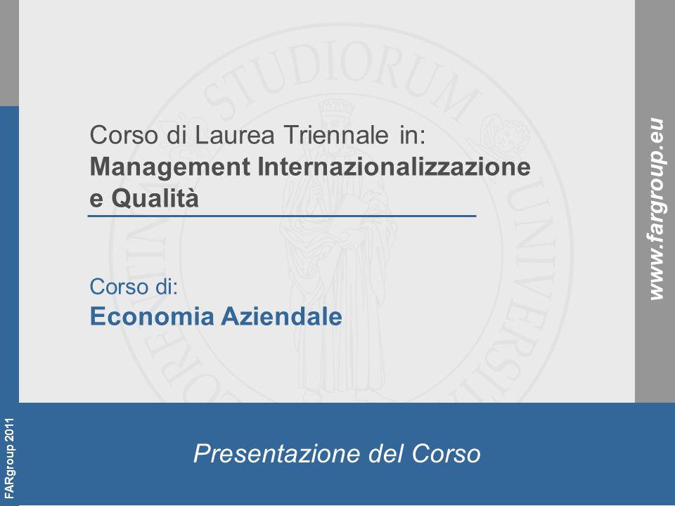 FVFV FARgroup 2010 2 Docente del corso Federico Verrucchi Professore a contratto a.a.