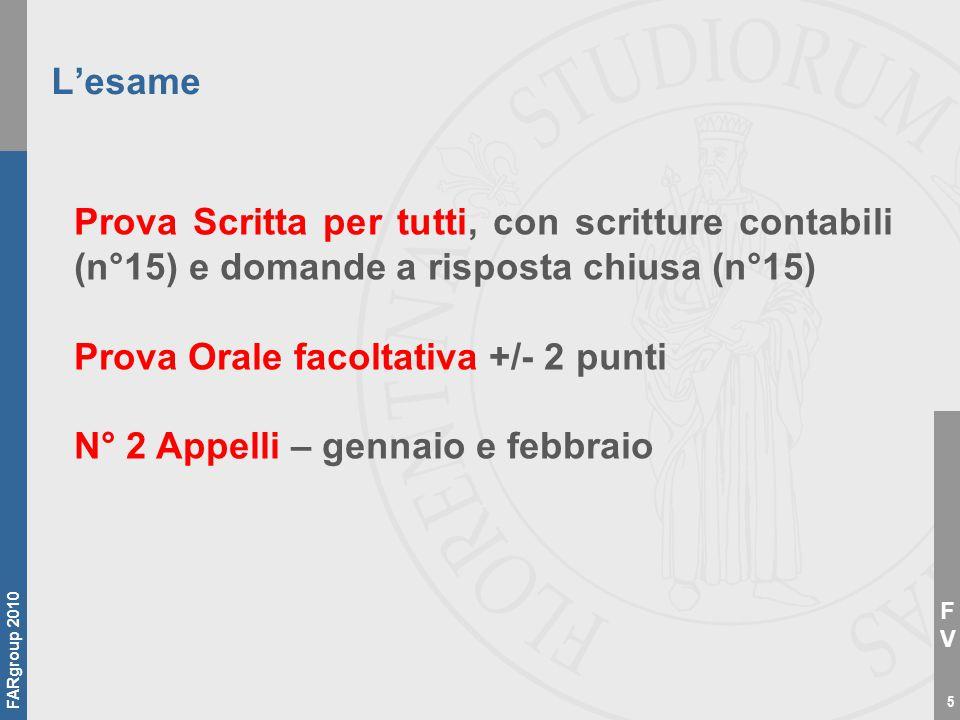 FVFV FARgroup 2010 6 La prova intermedia per i frequentanti Il 07/12 - Prova Scritta, con le sole scritture contabili (n°15).