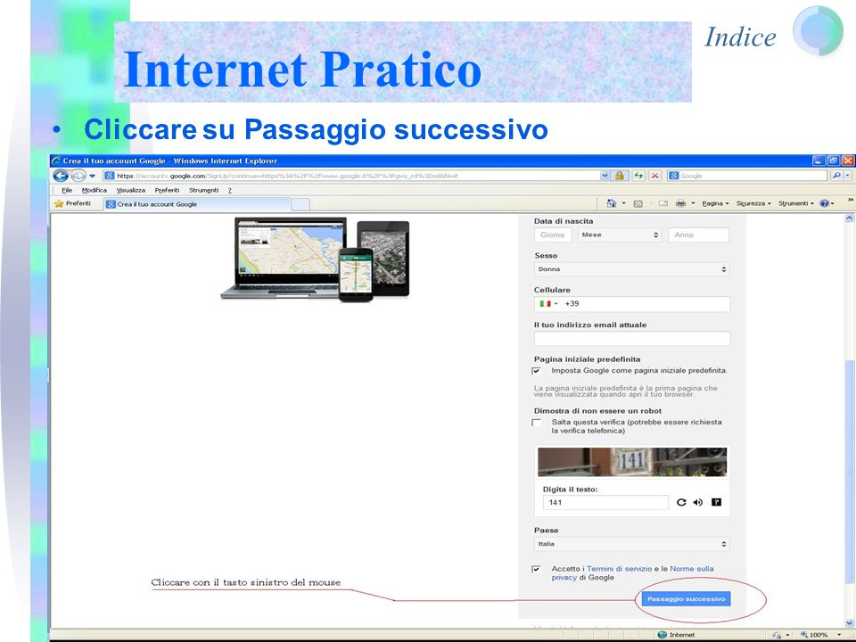Indice Internet Pratico Cliccare su Passaggio successivo