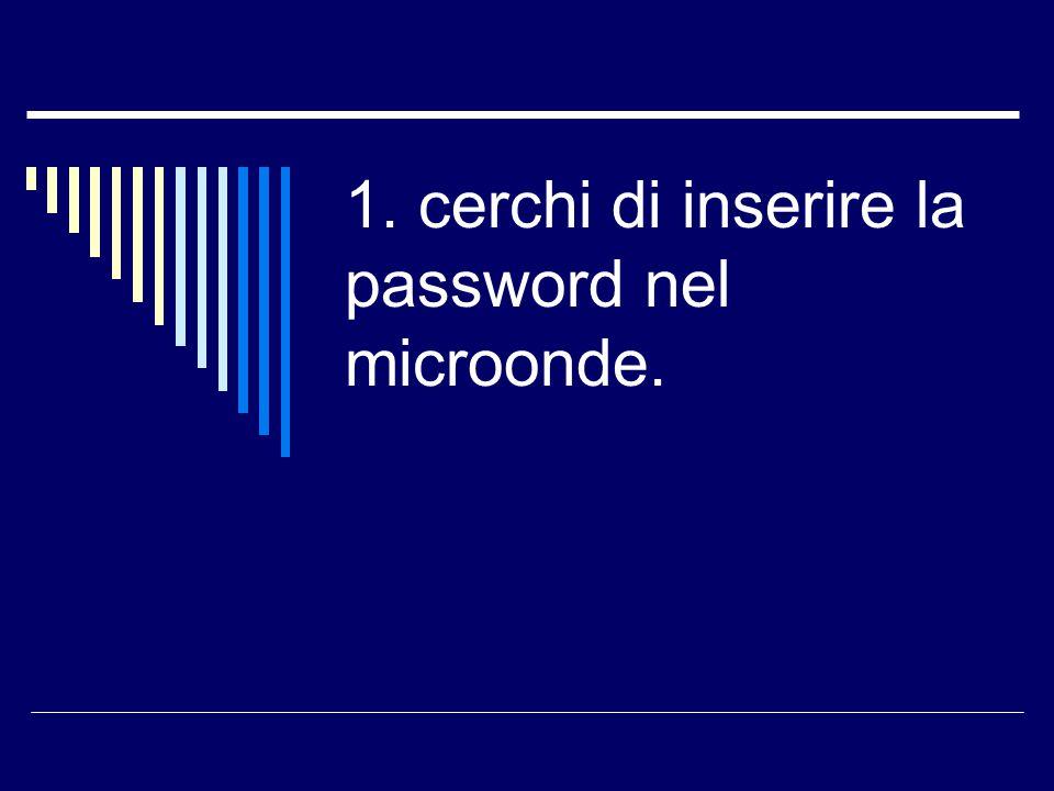 1. cerchi di inserire la password nel microonde.