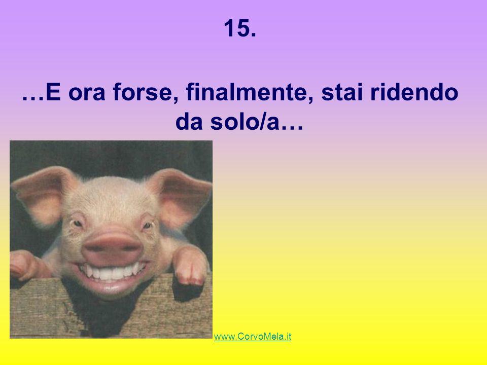 15. …E ora forse, finalmente, stai ridendo da solo/a… www.CorvoMela.it