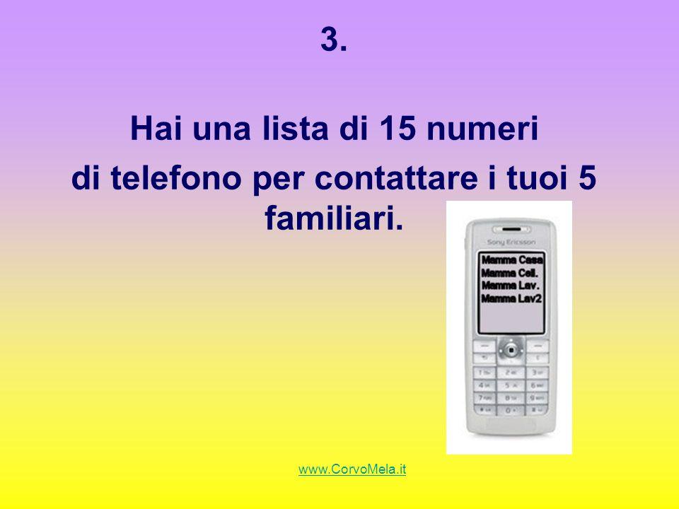 3. Hai una lista di 15 numeri di telefono per contattare i tuoi 5 familiari. www.CorvoMela.it