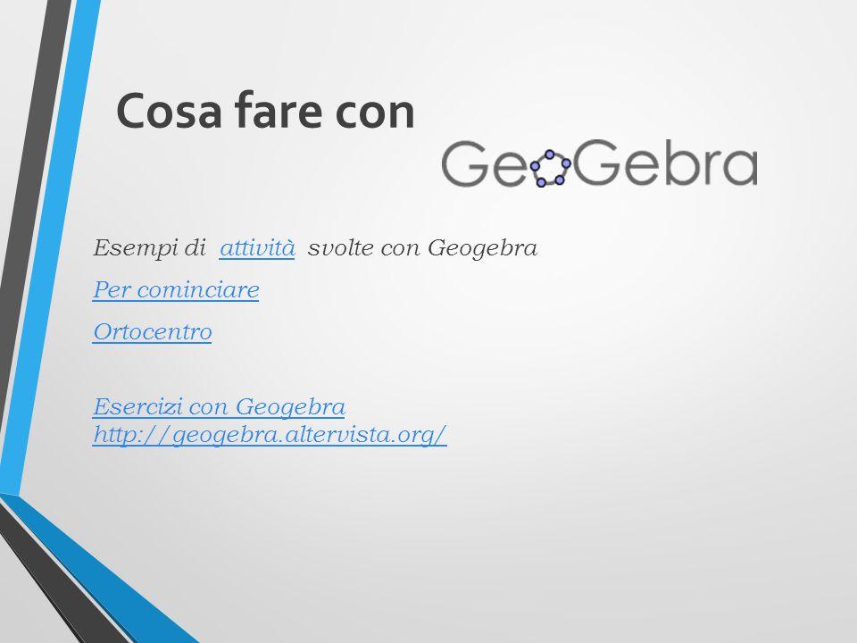 Cosa fare con Esempi di attività svolte con Geogebraattività Per cominciare Ortocentro Esercizi con Geogebra http://geogebra.altervista.org/