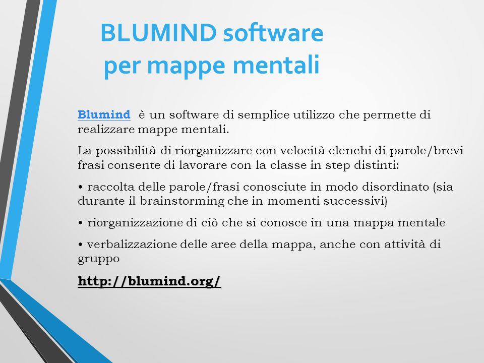 BLUMIND software per mappe mentali BlumindBlumind è un software di semplice utilizzo che permette di realizzare mappe mentali.