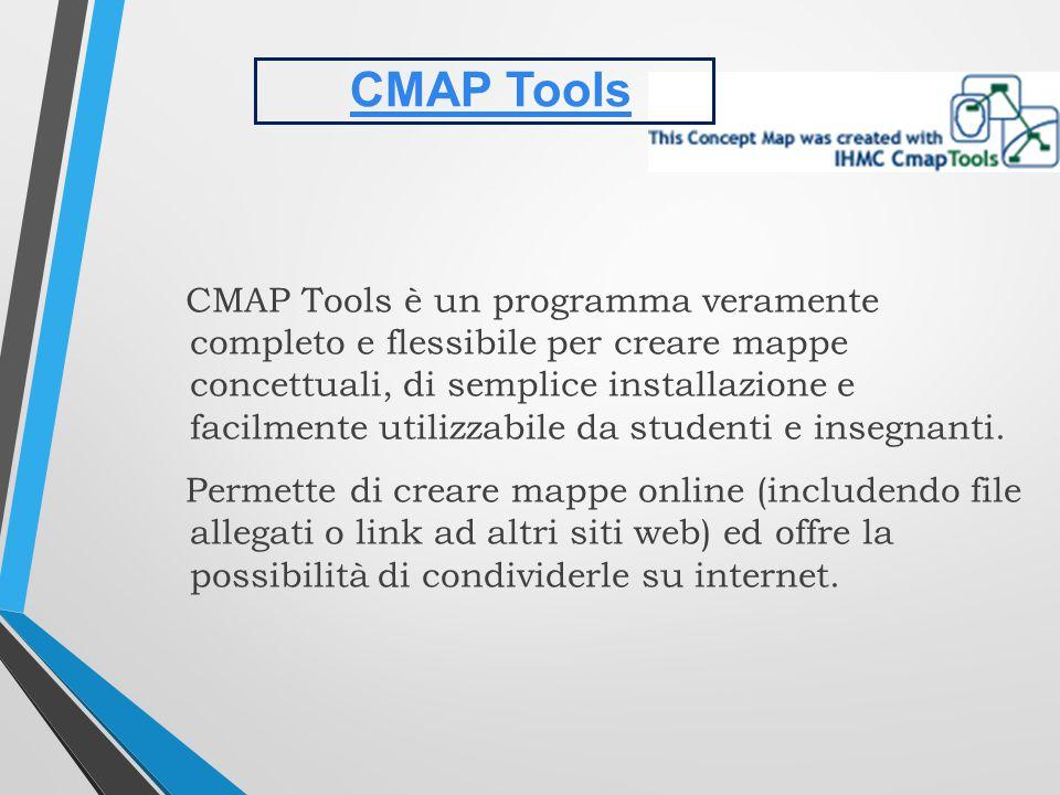 CMAP Tools è un programma veramente completo e flessibile per creare mappe concettuali, di semplice installazione e facilmente utilizzabile da studenti e insegnanti.