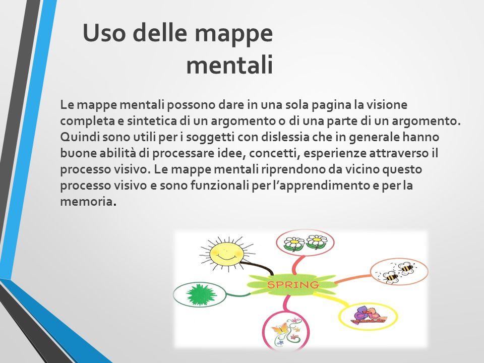 Uso delle mappe mentali Le mappe mentali possono dare in una sola pagina la visione completa e sintetica di un argomento o di una parte di un argomento.