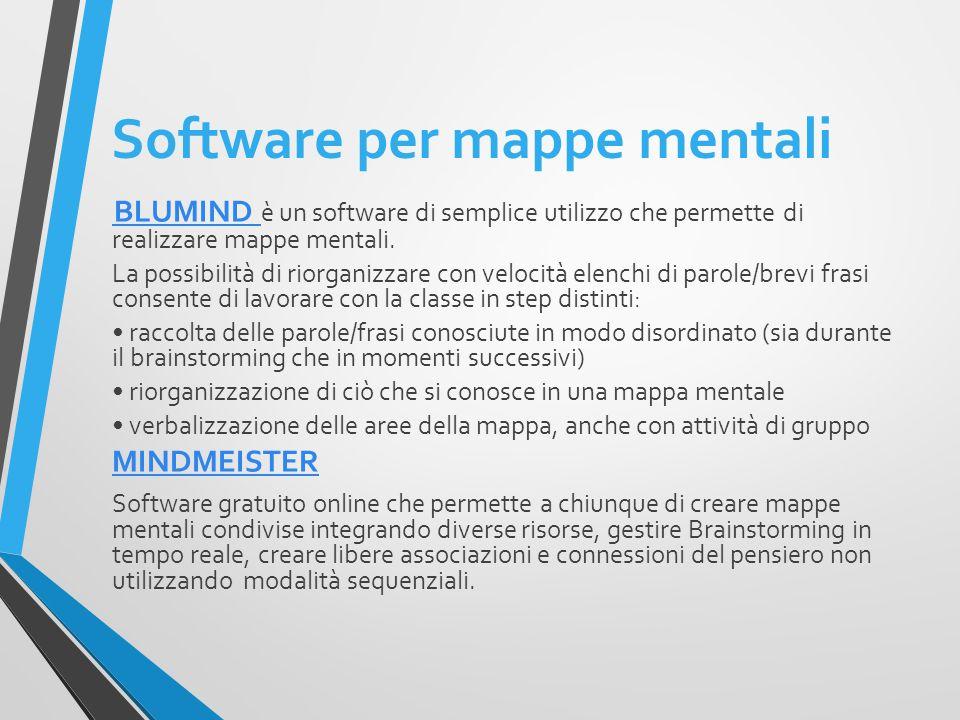 Software per mappe mentali BLUMIND BLUMIND è un software di semplice utilizzo che permette di realizzare mappe mentali.