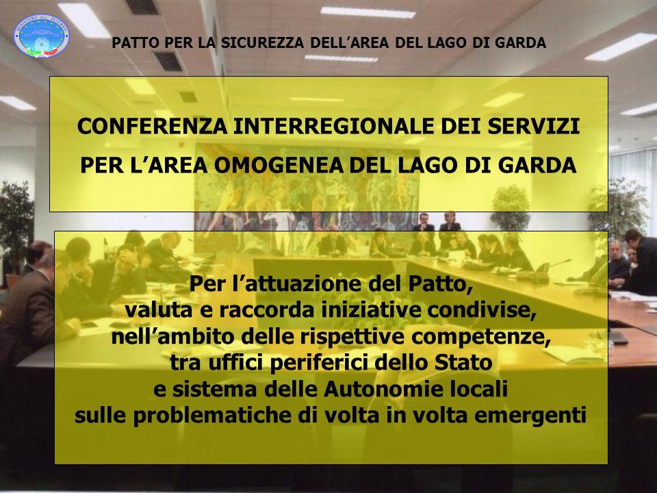 PATTO PER LA SICUREZZA DELL'AREA DEL LAGO DI GARDA Per l'attuazione del Patto, valuta e raccorda iniziative condivise, nell'ambito delle rispettive co