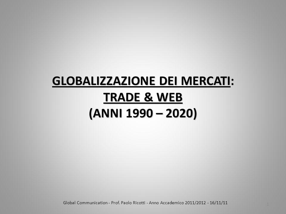 GLOBALIZZAZIONE DEI MERCATI: TRADE & WEB (ANNI 1990 – 2020) Global Communication - Prof.