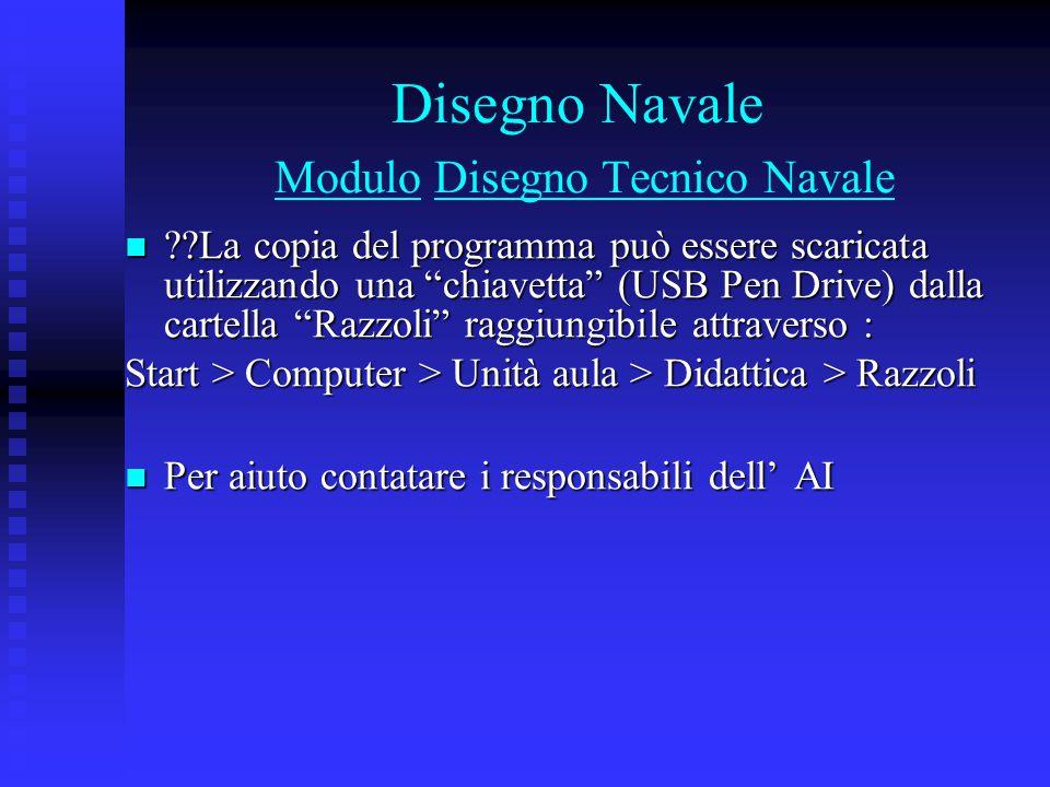 """Disegno Navale Modulo Disegno Tecnico Navale ??La copia del programma può essere scaricata utilizzando una """"chiavetta"""" (USB Pen Drive) dalla cartella"""