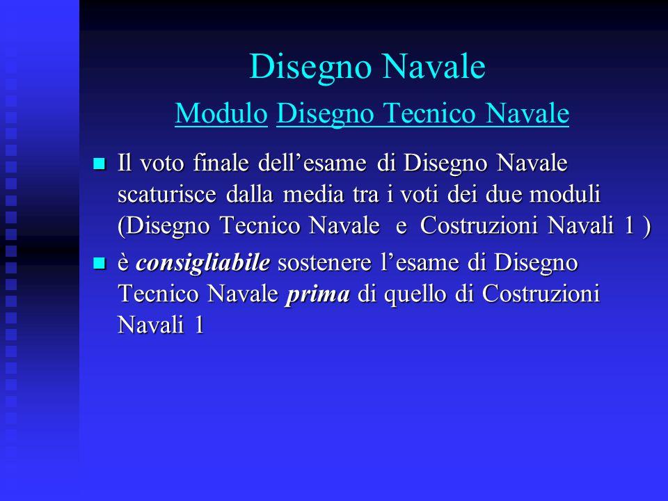 Disegno Navale Modulo Disegno Tecnico Navale Il voto finale dell'esame di Disegno Navale scaturisce dalla media tra i voti dei due moduli (Disegno Tec