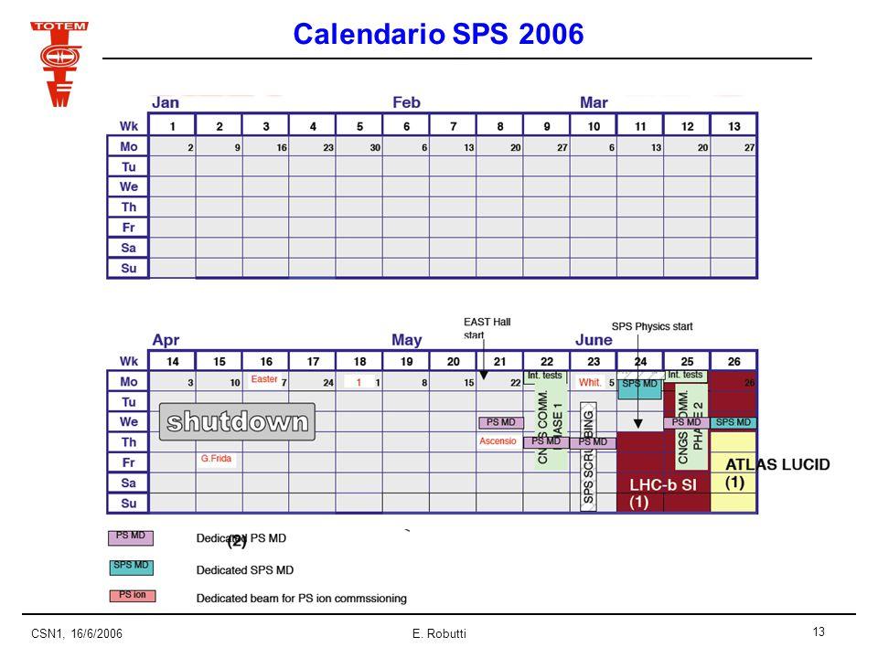 13 CSN1, 16/6/2006E. Robutti Calendario SPS 2006