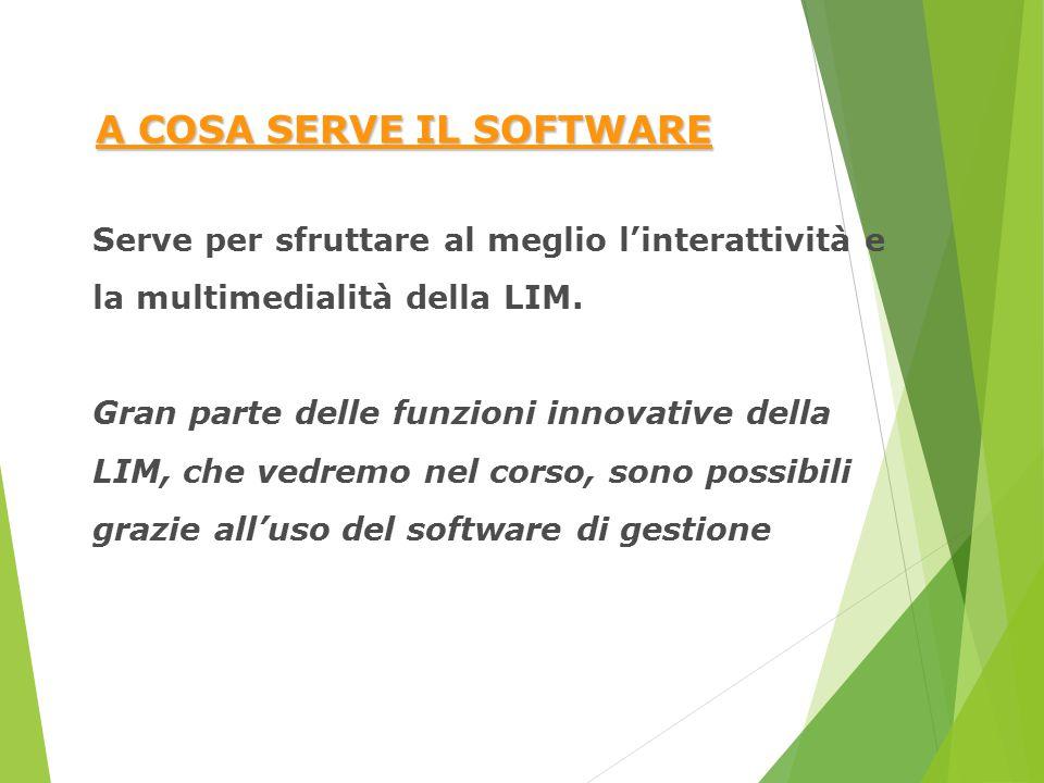 A COSA SERVE IL SOFTWARE Serve per sfruttare al meglio l'interattività e la multimedialità della LIM. Gran parte delle funzioni innovative della LIM,
