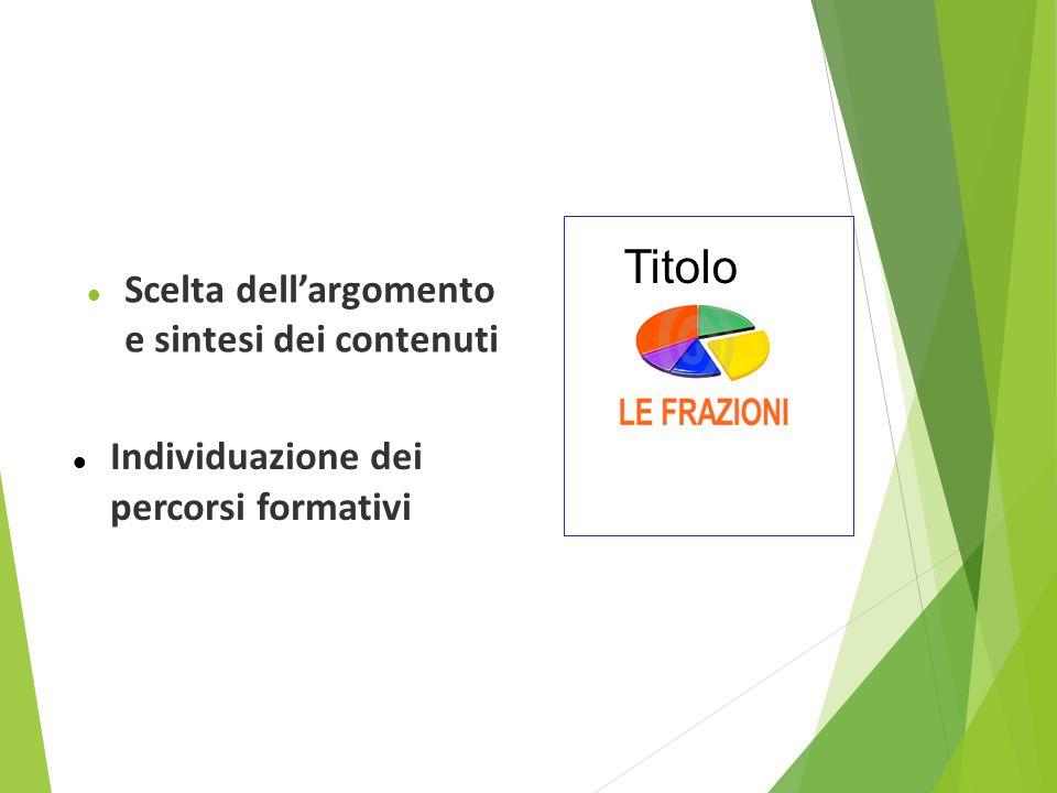 Progettare una lezione multimediale con la LIM Scelta dell'argomento e sintesi dei contenuti Individuazione dei percorsi formativi Titolo