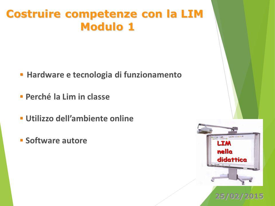 Costruire competenze con la LIM Modulo 1   Hardware e tecnologia di funzionamento  Perché la Lim in classe  Utilizzo dell'ambiente online  Softwa
