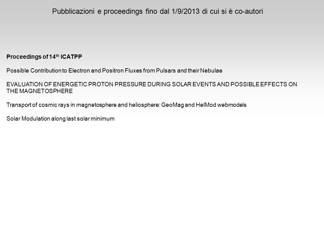 Pubblicazioni e proceedings fino dal 1/9/2013 di cui si è co-autori Proceedings of 14 th ICATPP Possible Contribution to Electron and Positron Fluxes