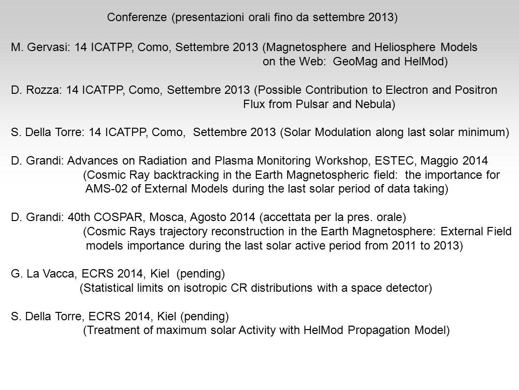 Conferenze (presentazioni orali fino da settembre 2013) M.