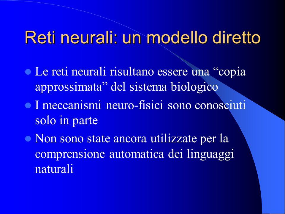 Reti neurali: un modello diretto Le reti neurali risultano essere una copia approssimata del sistema biologico I meccanismi neuro-fisici sono conosciuti solo in parte Non sono state ancora utilizzate per la comprensione automatica dei linguaggi naturali