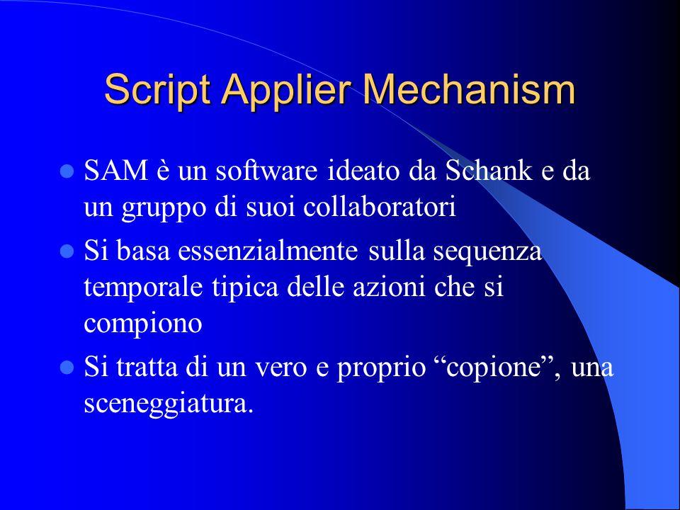 Script Applier Mechanism SAM è un software ideato da Schank e da un gruppo di suoi collaboratori Si basa essenzialmente sulla sequenza temporale tipica delle azioni che si compiono Si tratta di un vero e proprio copione , una sceneggiatura.