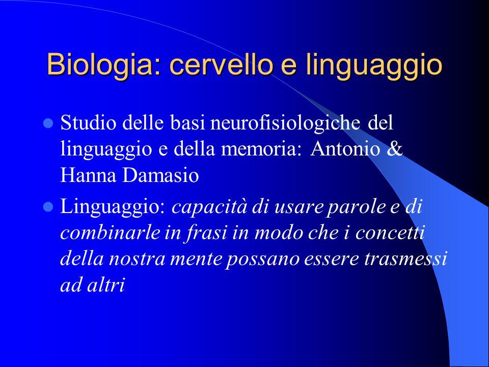 Biologia: cervello e linguaggio Studio delle basi neurofisiologiche del linguaggio e della memoria: Antonio & Hanna Damasio Linguaggio: capacità di usare parole e di combinarle in frasi in modo che i concetti della nostra mente possano essere trasmessi ad altri